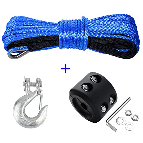 SAMLIGHT Synthetic Winch Rope Kit, 1/4''+50'7000+ LBs Blue Winch Rope with Metal Snap Hook and Rubber Stopper for ATV UTV SUV Truck Car Ramsey (Metal Winch Cable)