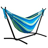Driftsun Double Hammock with Steel Stand - Space Saving Two Person Lawn and Patio Portable Hammock with Travel Case (Forest)