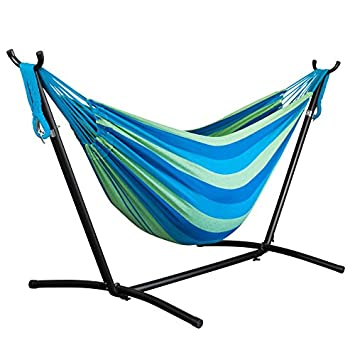 Driftsun Double Hammock with Steel Stand – Space Saving Two Person Lawn and Patio Portable Hammock with Travel Case Forest