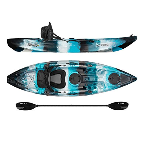Vibe Kayaks Skipjack 90 9-foot Angler Sit On Top Fishing Kayak with Paddle and Deluxe Kayak Seat