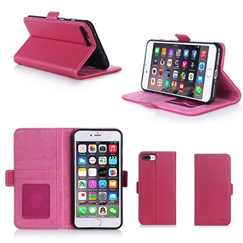 Apple iPhone 7 Plus 5.5 zoll Hülle Brieftasche Leder rosa Cover mit Kartenfach - Zubehör Etui Portfolio smartphone iPhone 7+ 5,5 Flip Case Schutzhülle (Handy Wallet tasche folio PU Leder, Pink) - XEPT