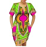 Winwinus Women's Party Mulit Color Batik Dashiki African Print Mini Dress One XL