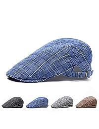 Men Cotton Adjustable Newsboy Hats Breathable Plaid Golf Fishing Driving Cabbie Flat Cap Baseball Cap Visor Sun Hat