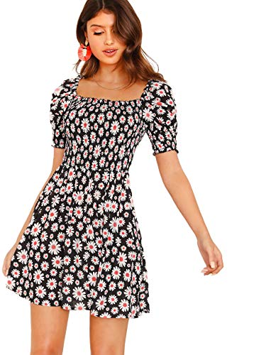 (Romwe Women's Ditsy Floral Square Neck Puff Sleeve Shirred Dress Black M)