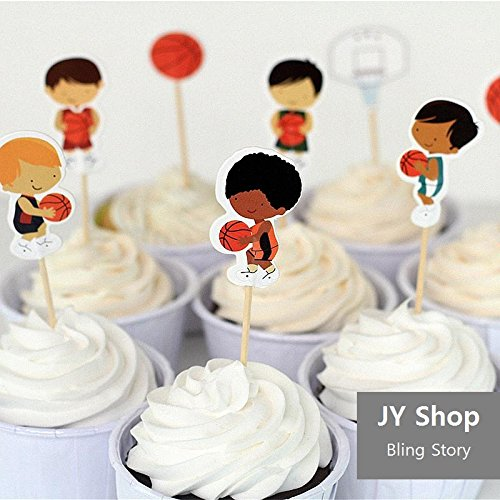 - 24pcs Basketball Sport Boys Cupcake Toppers Picks Baby Shower Kids Birthday Party Supplies Cake Decorations