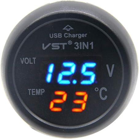 Rkurck 12v 24v 3in1 Universal Blue Zigarettenanzünder Auto Usb Port Ladegerät Digitale Led Anzeige Voltmeter Thermometer Auto Gauge Batteriespannung Tester Temperatur Monitor Auto