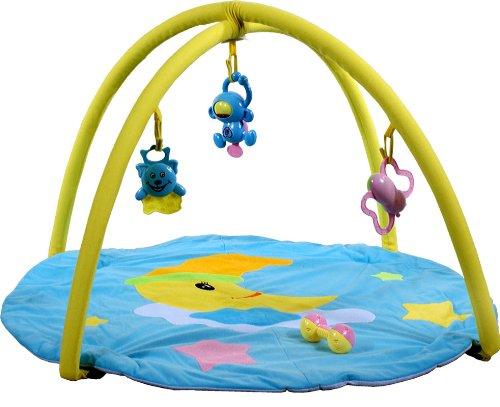 Palestrina ARTI B694564 Moon toys Blue, Palestrinaa Attivit? con Tappetino, Giocattolo prima infanzia, Tappeto attivita' suoni e giochi, Palestrinaa neonato Tappeto attivita' suoni e giochi