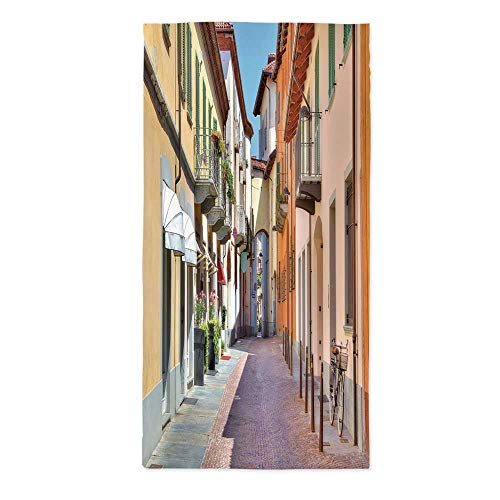 City Waterproof Tablecloth,Town of Alba Piedmont Northern Italy Narrow Stone Paved Street Among Colorful Houses for Dining Table Tea Table Desk Secretaire,70.1''W X 104.3''L - Northern Blanket Striped