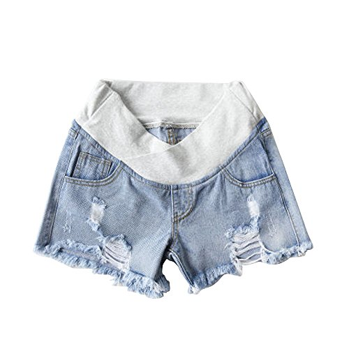 Women's Low Rise Wide Elastic Band Waist Pregnant Denim Shorts Maternity Short Jeans Light Blue Tag XXL-US 8