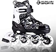 Kuxuan Boys Camo Black & Silver Adjustable Inline Skates with Light up Wheels, Fun Illuminating Roller Bla