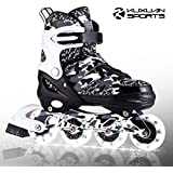 Kuxuan Boys Camo Black & Silver Adjustable Inline Skates with Light up Wheels, Fun Illuminating Roller Blading for Kids Girls Youth