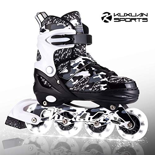 Kuxuan Boys Camo Black & Silver Adjustable Inline Skates with Light up Wheels, Fun Illuminating Roller Blading for Kids Girls Youth - Small(Y10-Y13)