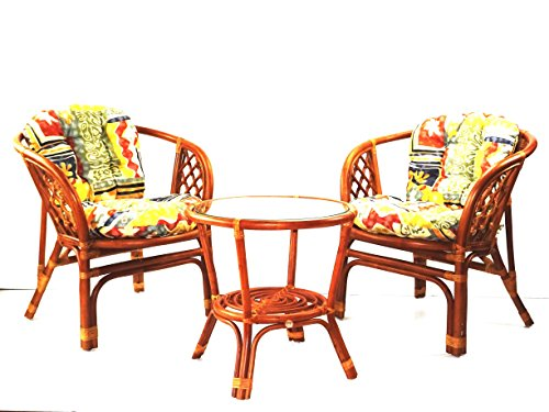 - Lounge Set of 3: 2 Bahama Armchairs Natural Rattan Wicker with Cushion and Round Coffee Table Tropical Style, Colonial