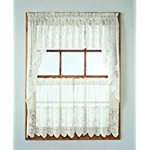No. 918 Joy-Tier Kitchen Curtain Swag Valance, 60 by 38 inch, Ivory