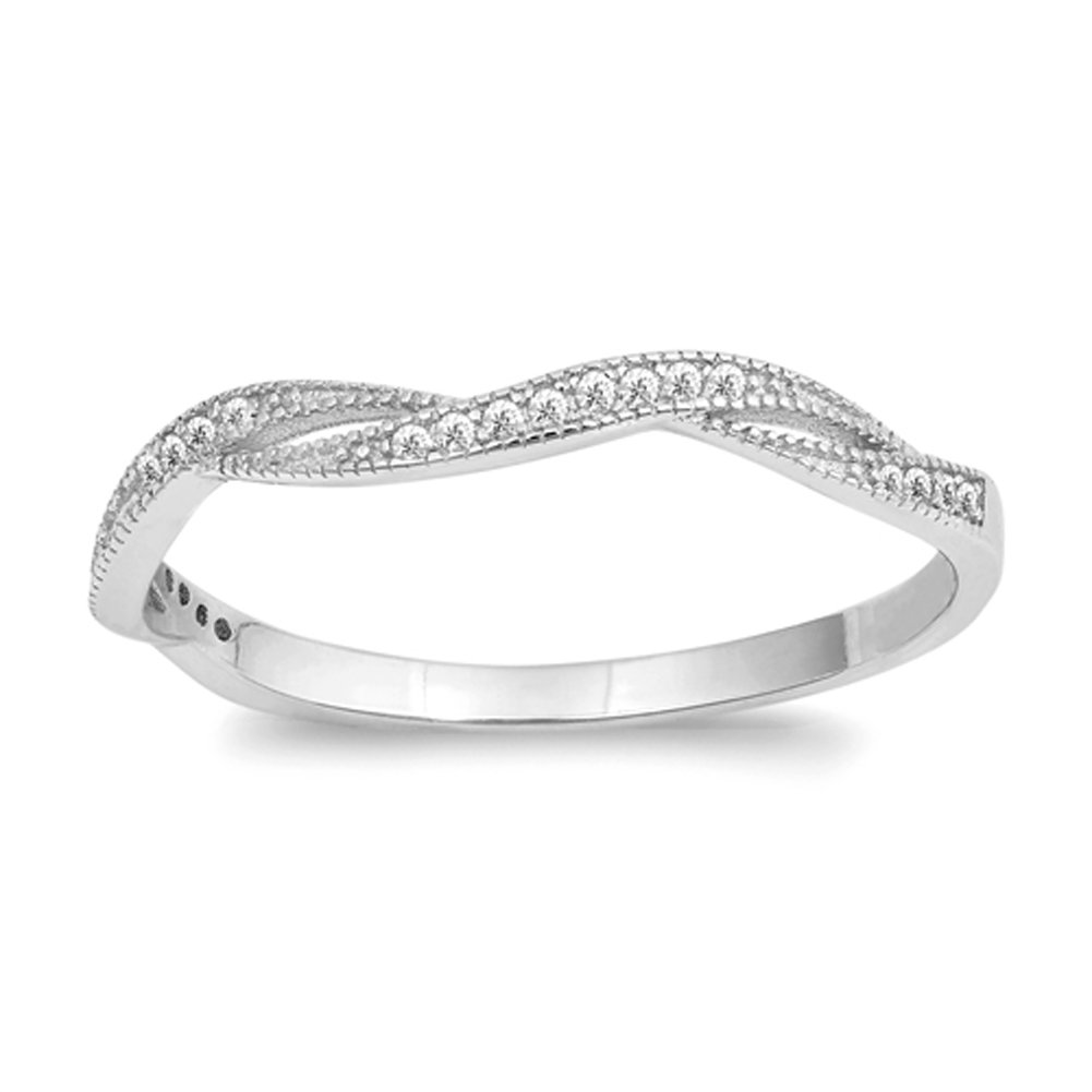 White CZ Criss Cross Knot Stackable Ring New 925 Sterling Silver Band Size 6