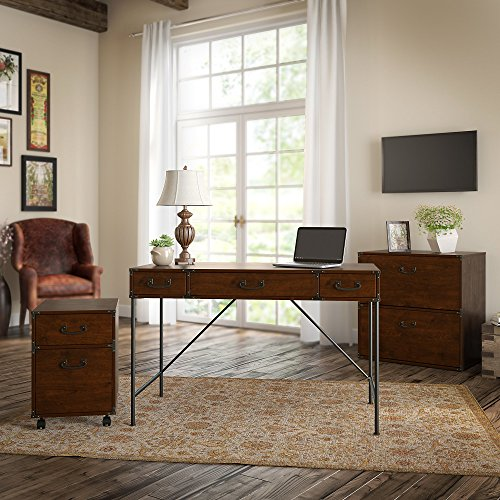 Kathy Ireland Office IW005CC Ironworks 48W Writing Desk, 2 Drawer Mobile Pedestal, and Lateral File Cabinet, Coastal Cherry by Kathy Ireland Office