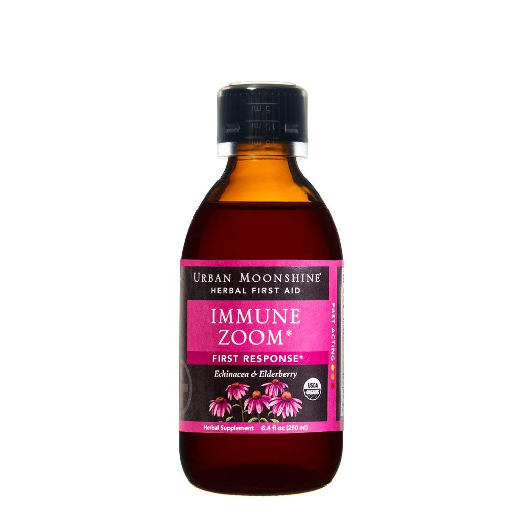 Urban Moonshine Immune Zoom, Organic Herbal Supplement with Elderberries & Echinacea for Powerful Immune Support, 8.4 FL OZ (Pack of 2)