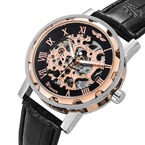 GuTe Classic Steampunk Bling Automatic Mechanical Wristwatch Skeleton Rose-gold Black Unisex ()