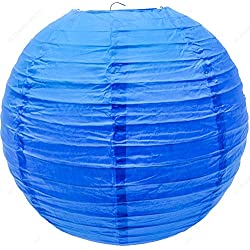 M.V. Trading LNT8ER-BL Colorful Chinese/Japanese Round Paper Lanterns with Metal Frame, 8-Inches, Blue