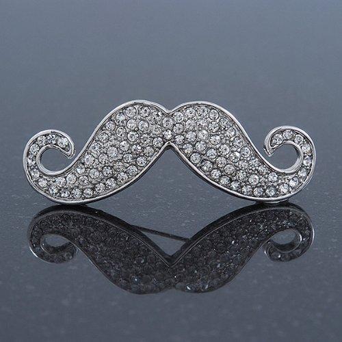 Broche moustache de cristal originale cristal autrichien en plaqué rhodium