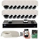 GW Security 5-Megapixel (2592 x 1920) 16 Channel PoE 4K NVR Security Camera System - 16 5MP Dome IP Video Audio Surveillance Weatherproof Microphone Cameras, 2.8-12mm Varifocal Zoom Lens