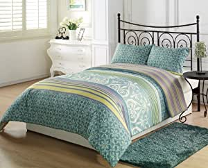 Chezmoi Collection Seafoam Green White Paisley Lime Purple Pink Stripe 3-Piece Reversible Comforter Set, Queen/ Full