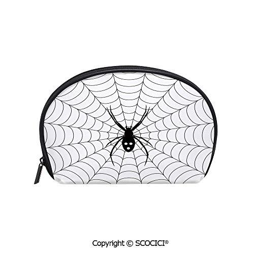 SCOCICI Durable Printed Makeup Bag Storage Bag Poisonous Bug Venom Thread Circular Cobweb Arachnid Cartoon Halloween Icon Decorative for Women Girl Student -