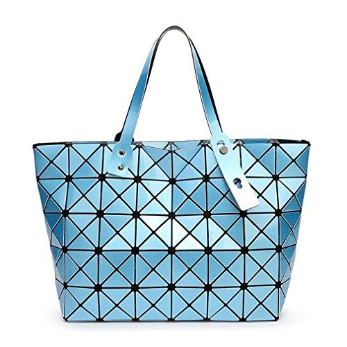 kaoling Bolso del holograma del diseñador de la bolsa de hombro de la geometría del bolso de la perla de las mujeres bolso de hombro del diamante del enrejado blue blue