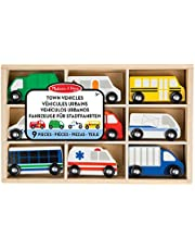 Melissa & Doug 13170 Wooden Town Vehicles Set in Wooden Tray (9 Pcs)