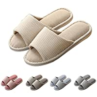 GaraTia Open Toe Slippers Indoor Soft Striped Memory Foam Cotton Washable for Men and Women Beige 7.5 M US Women/5.5 M US Men
