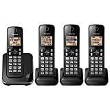 Panasonic KX-TGC384B Dect 6.0 4 Handset Landline Telephone (Renewed)
