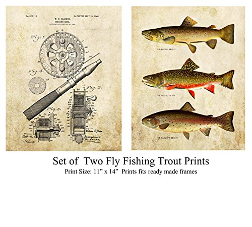 Apple Creek (Set of Two) Trout Unlimited Fly Fishing Reel Patent Art Print 11x14 Brown Brook Rainbow Cabin Decor Pictures