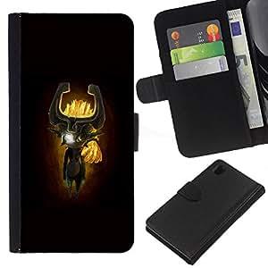 """A-type (Totem máscara de dibujos animados"""") Colorida Impresión Funda Cuero Monedero Caja Bolsa Cubierta Caja Piel Card Slots Para Sony Xperia Z1 L39"""