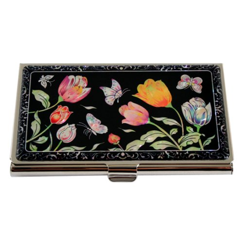 Mother of Pearl Red Yellow Tulip Design Black Metal Stainless Steel Engraved Slim Business Credit Name Card Holder Id Money Case Wallet