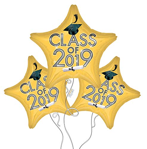 (Graduation Cap Class of 2019 Star Mylar Balloons in Gold - 3 Pack)