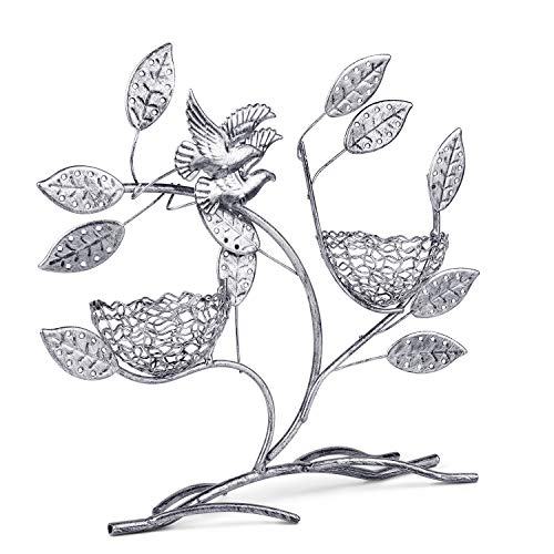 (Flexzion Jewelry Display Two Bird Nest Tree Stand, Earring Necklace Holder Rack Organizer Tower Table Top Decor - Ideal for Bangles Pendants Anklet (Silver))