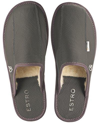 ESTRO FROST comódo lujo zapatillas de estar por casa la de los hombres gris/lana