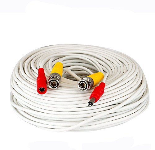 150 Feet Pre-made All-in-One BNC Video and Power Extension Cable with Connector for CCTV Security Camera (White, 150 feet)