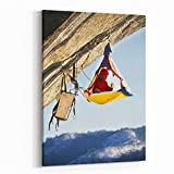 Rosenberry Rooms Canvas Wall Art Prints - Rock Climber Bivouacked in His Portaledge On an Overhanging Cliff (8 x 10 inches)