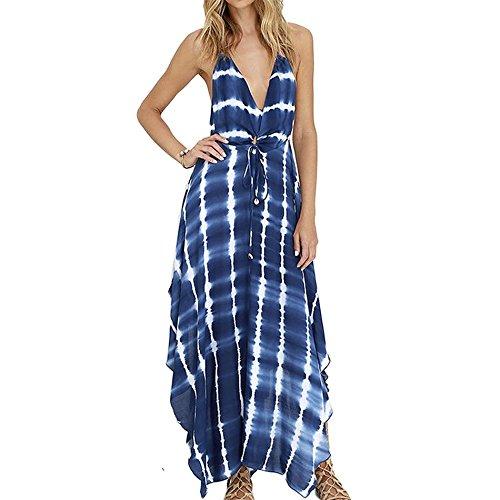 CRAVOG Sexy Damen Maxikleid Strandkleid Sommerkleid Print lange Kleider
