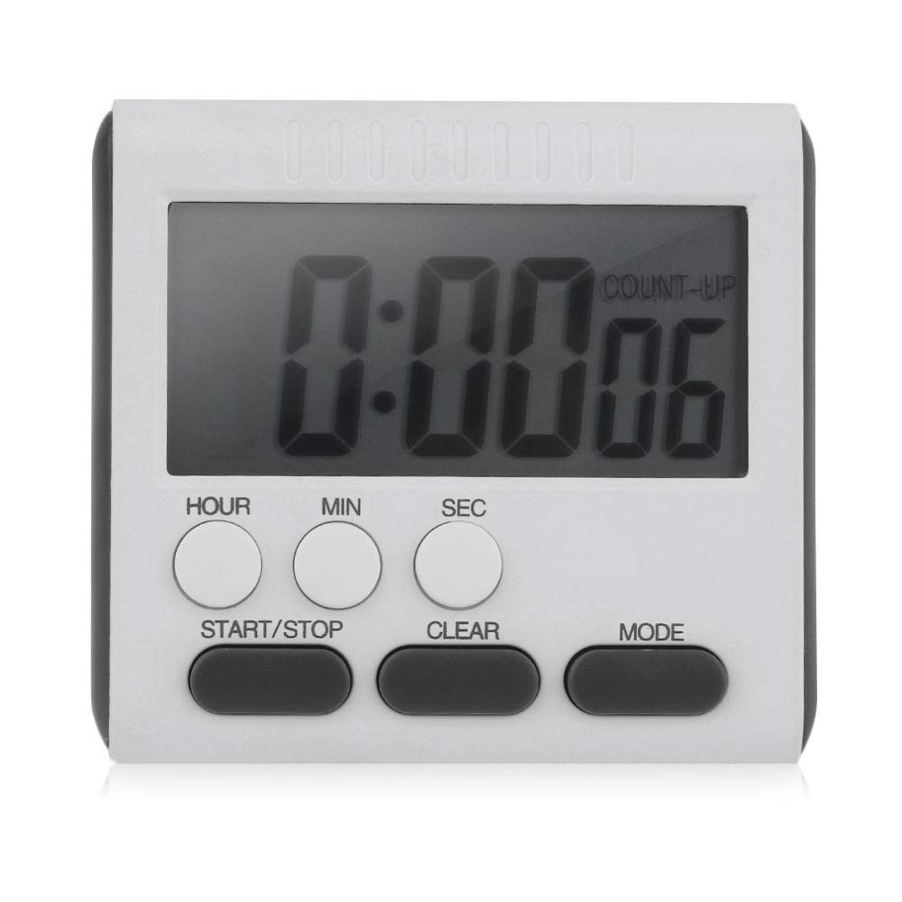 XuBa - Temporizador de Cocina Digital con Pantalla LCD, magnético, con Alarma de Alta Intensidad (hasta 24 Horas) White + Rose Red