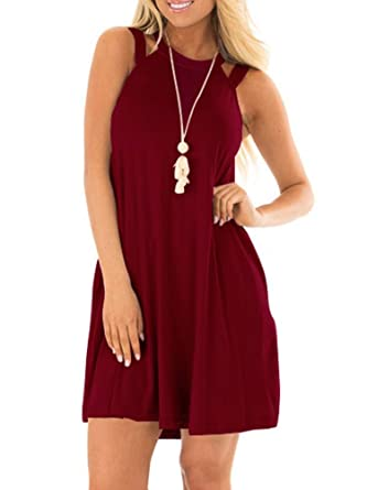 216e3a276406 EZBELLE Women s Sleeveless Long Tunic Dress Round Neck Loose Plain Casual  Swing T-Shirt Dresses