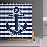 Nautical Navy Anchor Shower Curtain - 78 inch Long Shower Curtain,White and Navy Strip 3D Print Bathroom Shower Curtain with Hooks, Fabric,Mildew Resistant,72x78,Blue