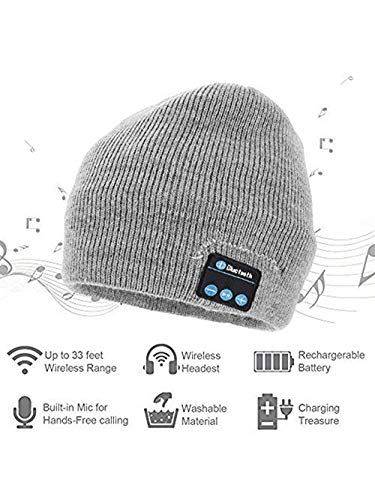 New York Popular Bluetooth Beanie Winter Hat, Wireless Beanie Headphones, Winter Hat with Stereo Speaker. (Grey)