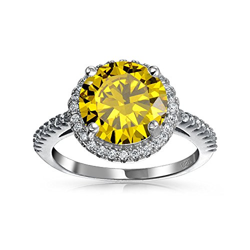 Sterling Silver Round Simulated Canary Yellow CZ Halo Engagement Ring by Bling Jewelry (Image #2)