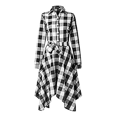 Women Casual Plaids Long Sleeve Slim Fit Irregular Hem Shirt Dress