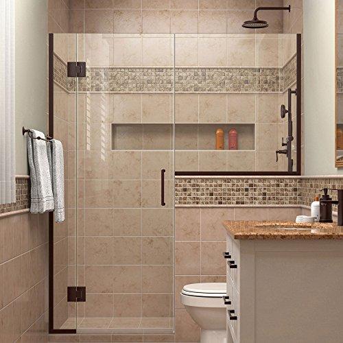 """DreamLine Unidoor-X 64-64 1/2 in. Width, Frameless Hinged Shower Door, 3/8"""" Glass, Oil Rubbed Bronze Finish good"""