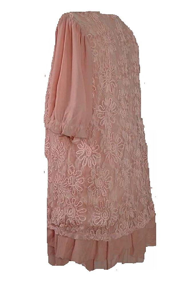 3230601ed921e Amazon.com: Lady Noiz Layered Lace Short Sleeve Ruffle Tunic Shirt Top  Blouse Peach Pink: Shoes