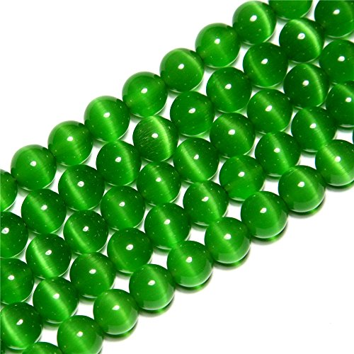 SHG Store 6mm Round Green Cat Eye Beads Strand 15 Inch Jewelry Handmade DIY - Eyes For Round Eyes Cat