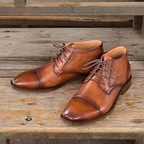 Hombres Fiesta Boot Planos Brown Desert Cordones Yra Calzado Botines Derby Hombre Square Boots Zapatos Banquetes Con Vaquero De Business Casual Para nqTUAS0Z